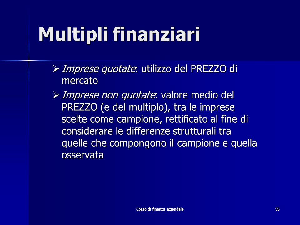 Corso di finanza aziendale 55 Multipli finanziari Imprese quotate: utilizzo del PREZZO di mercato Imprese quotate: utilizzo del PREZZO di mercato Impr