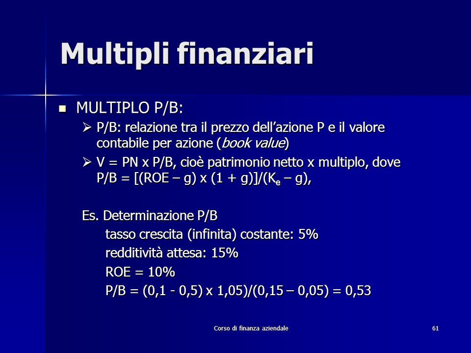 Corso di finanza aziendale 61 Multipli finanziari MULTIPLO P/B: MULTIPLO P/B: P/B: relazione tra il prezzo dellazione P e il valore contabile per azio