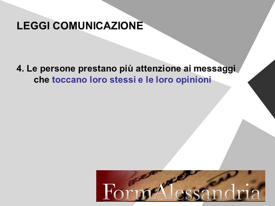 LEGGI COMUNICAZIONE 4. Le persone prestano più attenzione ai messaggi che toccano loro stessi e le loro opinioni