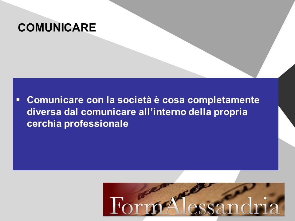 COMUNICARE Comunicare con la società è cosa completamente diversa dal comunicare allinterno della propria cerchia professionale