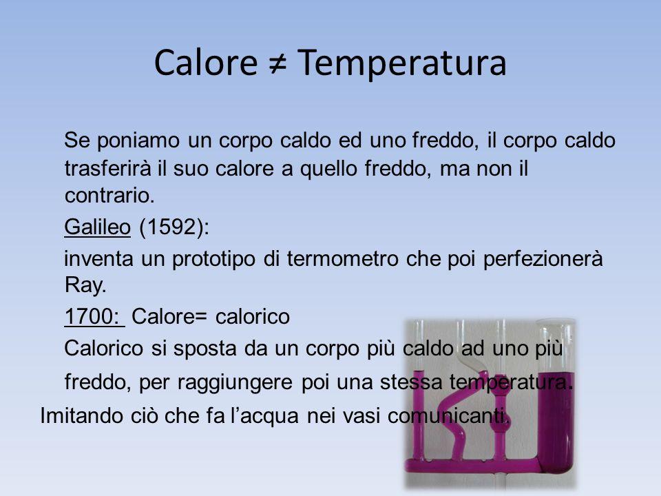 Calore Temperatura Se poniamo un corpo caldo ed uno freddo, il corpo caldo trasferirà il suo calore a quello freddo, ma non il contrario.