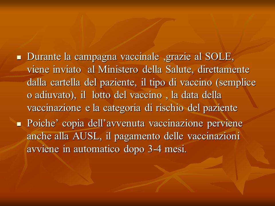 Durante la campagna vaccinale,grazie al SOLE, viene inviato al Ministero della Salute, direttamente dalla cartella del paziente, il tipo di vaccino (s
