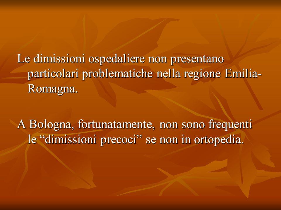 Le dimissioni ospedaliere non presentano particolari problematiche nella regione Emilia- Romagna. A Bologna, fortunatamente, non sono frequenti le dim