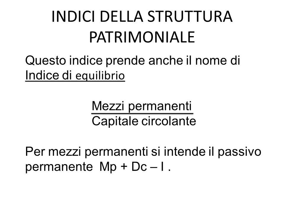 INDICI DELLA STRUTTURA PATRIMONIALE Questo indice prende anche il nome di Indice di equilibrio Mezzi permanenti Capitale circolante Per mezzi permanenti si intende il passivo permanente Mp + Dc – I.