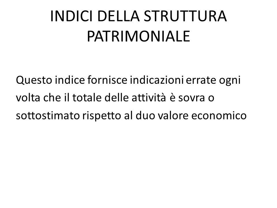 INDICI DELLA STRUTTURA PATRIMONIALE Questo indice fornisce indicazioni errate ogni volta che il totale delle attività è sovra o sottostimato rispetto al duo valore economico