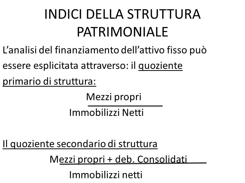 INDICI DELLA STRUTTURA PATRIMONIALE Lanalisi del finanziamento dellattivo fisso può essere esplicitata attraverso: il quoziente primario di struttura: Mezzi propri Immobilizzi Netti Il quoziente secondario di struttura Mezzi propri + deb.