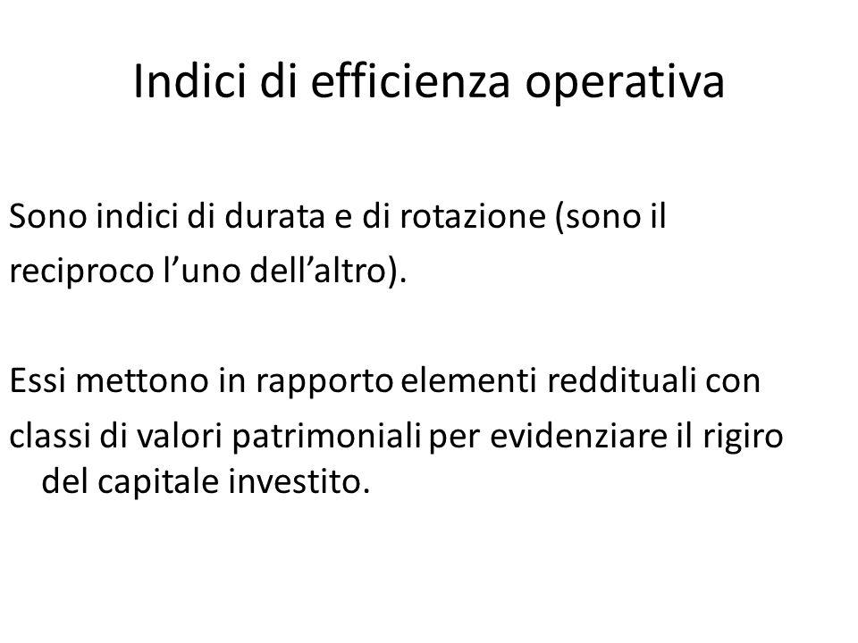 Indici di efficienza operativa Sono indici di durata e di rotazione (sono il reciproco luno dellaltro). Essi mettono in rapporto elementi reddituali c
