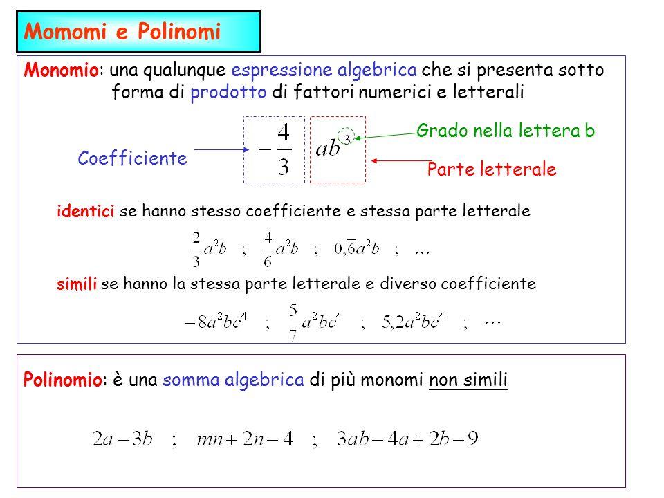 Monomio: una qualunque espressione algebrica che si presenta sotto forma di prodotto di fattori numerici e letterali Momomi e Polinomi Coefficiente Parte letterale Grado nella lettera b identici se hanno stesso coefficiente e stessa parte letterale simili se hanno la stessa parte letterale e diverso coefficiente Polinomio: è una somma algebrica di più monomi non simili