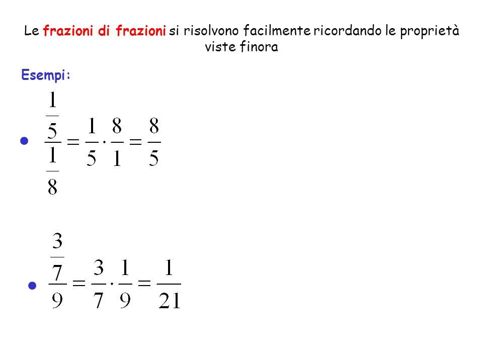 Le frazioni di frazioni si risolvono facilmente ricordando le proprietà viste finora Esempi: