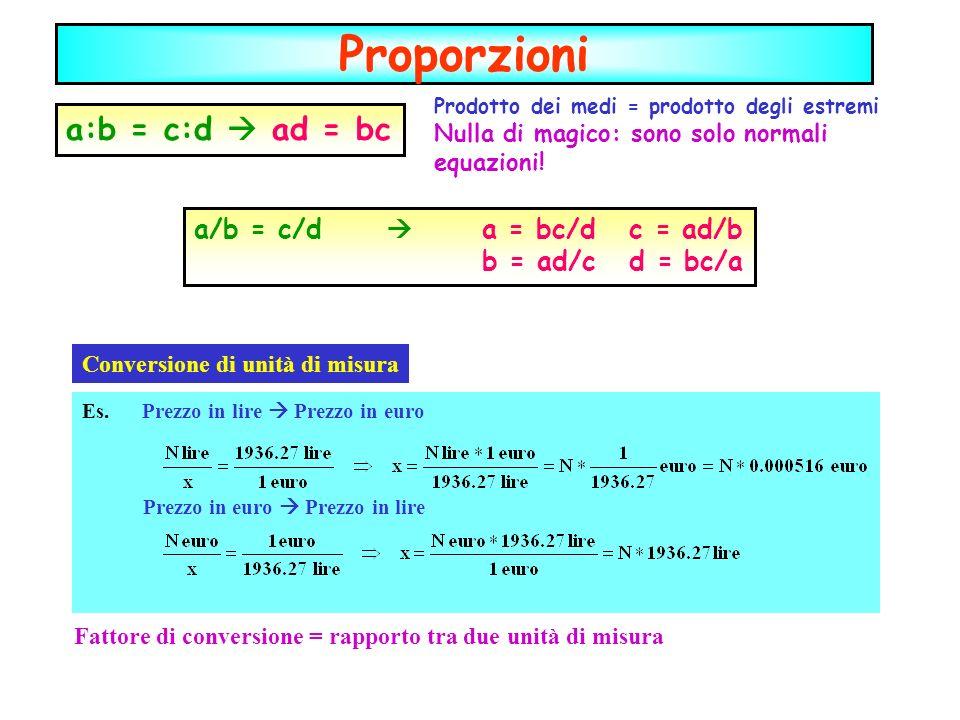 Proporzioni Prodotto dei medi = prodotto degli estremi Nulla di magico: sono solo normali equazioni.