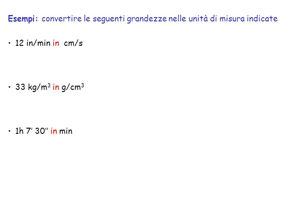 12 in/min in cm/s 33 kg/m 3 in g/cm 3 1h 7 30 in min Esempi: convertire le seguenti grandezze nelle unità di misura indicate