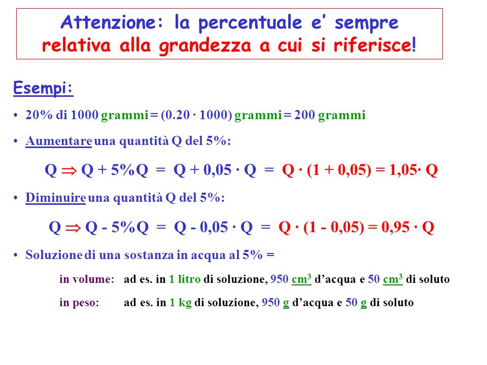 Esempi: 20% di 1000 grammi = (0.20 · 1000) grammi = 200 grammi Aumentare una quantità Q del 5%: Q Q + 5%Q = Q + 0,05 · Q = Q · (1 + 0,05) = 1,05· Q Di