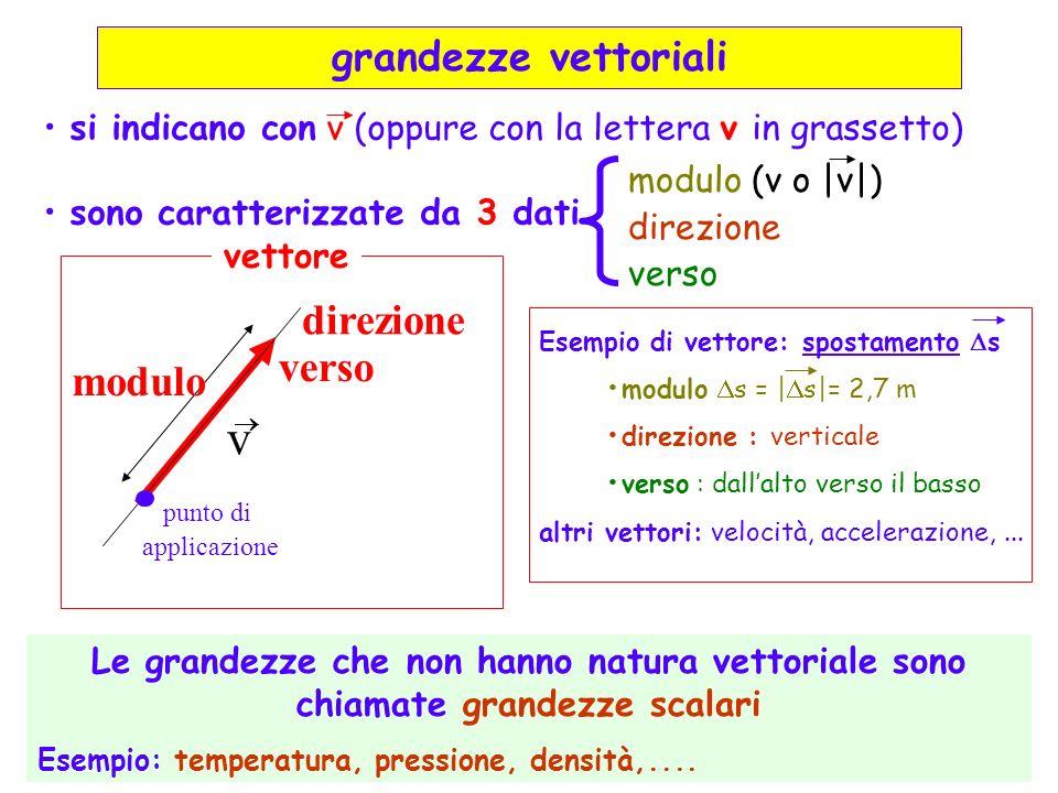 direzione modulo verso punto di applicazione v si indicano con v (oppure con la lettera v in grassetto) sono caratterizzate da 3 dati modulo (v o |v|)