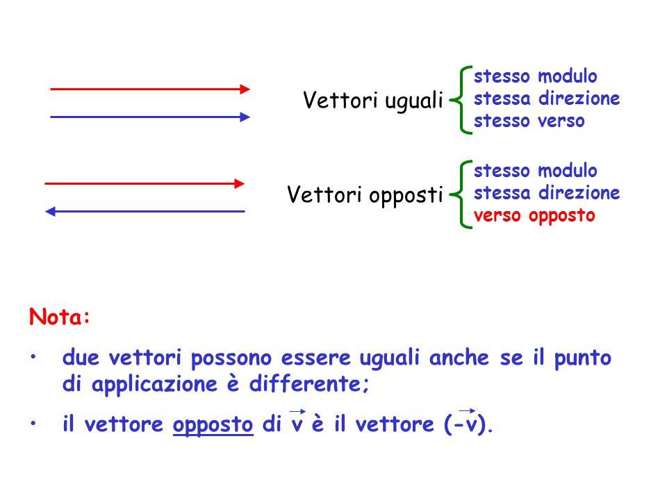 Vettori uguali Vettori opposti Nota: due vettori possono essere uguali anche se il punto di applicazione è differente; il vettore opposto di v è il vettore (-v).
