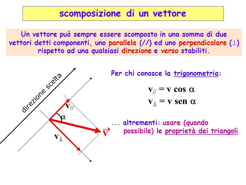 v direzione scelta v // v // = v cos v = v sen v Un vettore può sempre essere scomposto in una somma di due vettori detti componenti, uno parallela (/