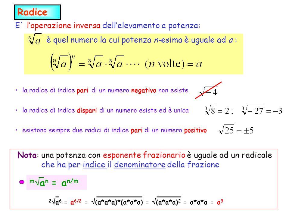 m a n = a n/m 2 a 6 = a 6/2 = (a*a*a)*(a*a*a) = (a*a*a) 2 = a*a*a = a 3 Radice E` loperazione inversa dellelevamento a potenza: è quel numero la cui potenza n-esima è uguale ad a : la radice di indice pari di un numero negativo non esiste la radice di indice dispari di un numero esiste ed è unica esistono sempre due radici di indice pari di un numero positivo Nota: una potenza con esponente frazionario è uguale ad un radicale che ha per indice il denominatore della frazione