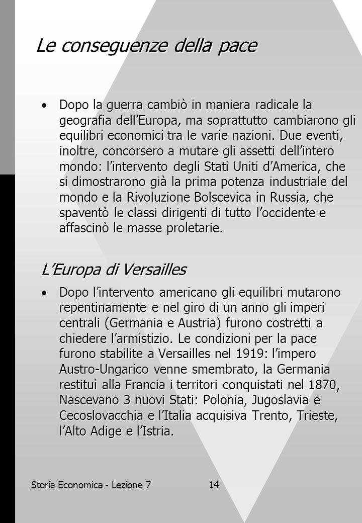 Storia Economica - Lezione 714 Le conseguenze della pace Dopo la guerra cambiò in maniera radicale la geografia dellEuropa, ma soprattutto cambiarono gli equilibri economici tra le varie nazioni.