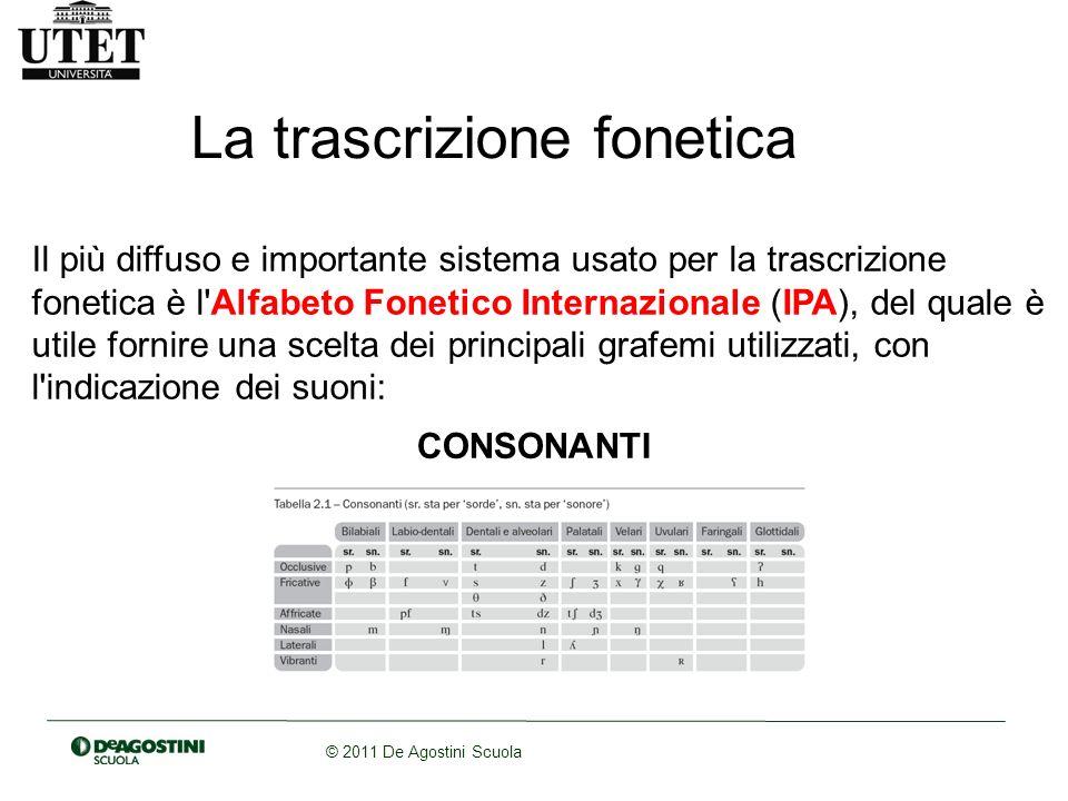 © 2011 De Agostini Scuola La trascrizione fonetica Il più diffuso e importante sistema usato per la trascrizione fonetica è l'Alfabeto Fonetico Intern