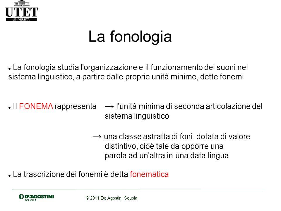 © 2011 De Agostini Scuola La fonologia La fonologia studia l'organizzazione e il funzionamento dei suoni nel sistema linguistico, a partire dalle prop