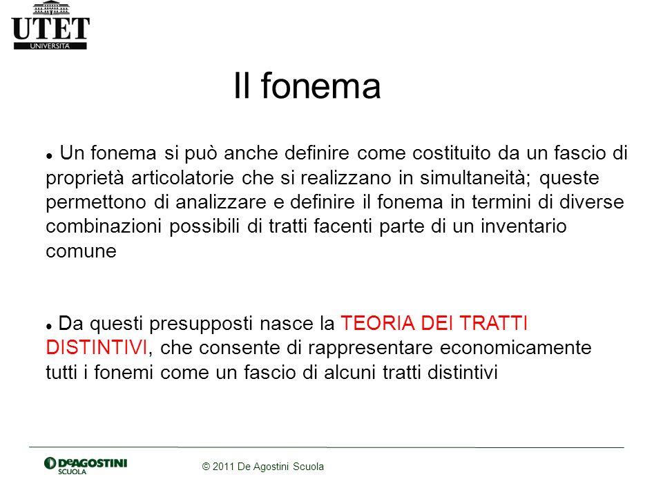 © 2011 De Agostini Scuola Il fonema Un fonema si può anche definire come costituito da un fascio di proprietà articolatorie che si realizzano in simul