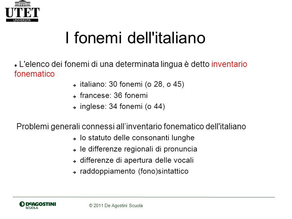 © 2011 De Agostini Scuola I fonemi dell'italiano L'elenco dei fonemi di una determinata lingua è detto inventario fonematico italiano: 30 fonemi (o 28