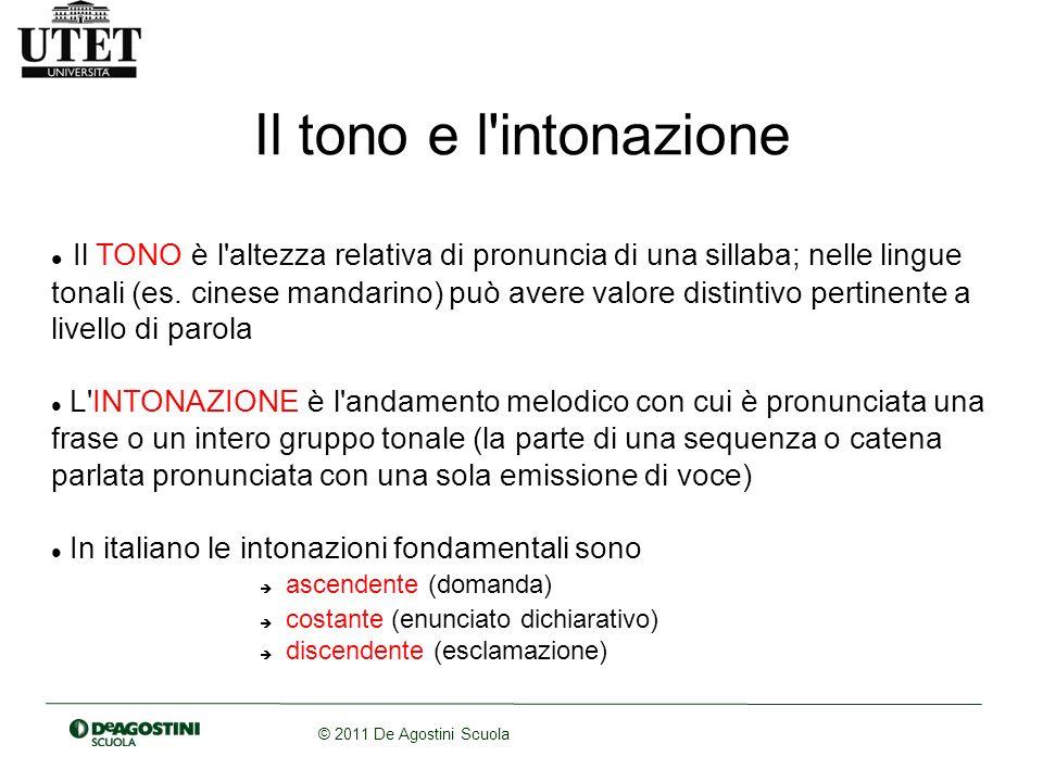 © 2011 De Agostini Scuola Il tono e l'intonazione Il TONO è l'altezza relativa di pronuncia di una sillaba; nelle lingue tonali (es. cinese mandarino)