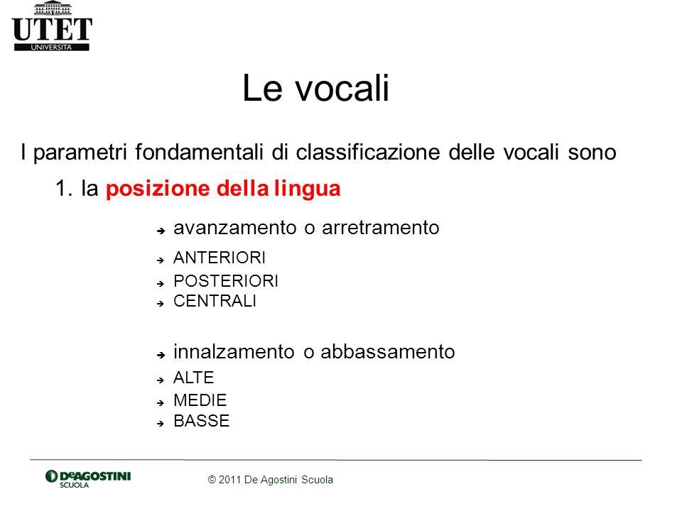 © 2011 De Agostini Scuola Le vocali I parametri fondamentali di classificazione delle vocali sono 1. la posizione della lingua avanzamento o arretrame