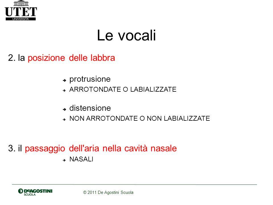 © 2011 De Agostini Scuola Le vocali 2. la posizione delle labbra protrusione ARROTONDATE O LABIALIZZATE distensione NON ARROTONDATE O NON LABIALIZZATE