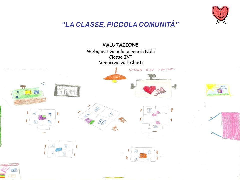 LA CLASSE, PICCOLA COMUNITÀ VALUTAZIONE Webquest Scuola primaria Nolli Classe IV^ Comprensivo 1 Chieti