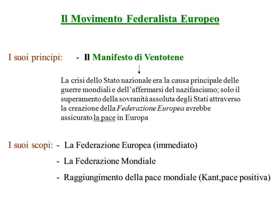 Il Movimento Federalista Europeo I suoi principi: - Il Manifesto di Ventotene La crisi dello Stato nazionale era la causa principale delle guerre mond