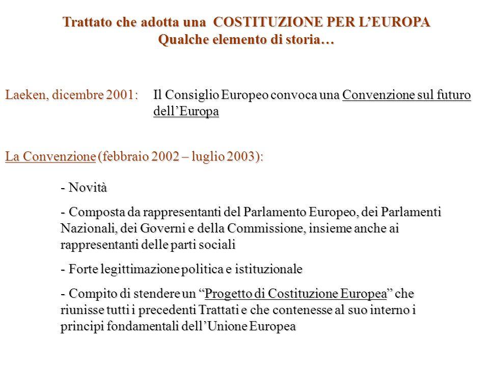 Qualche elemento di storia… Ottobre 2003: Il Progetto di Costituzione Europea viene presentato ad una Conferenza Intergovernativa (la CIG) La Conferenza Intergovernativa (CIG) : - Composta dai rappresentanti dei Capi di Stato e di Governo dei singoli stati - Compito di analizzare le questioni fondamentali - Apportare delle modifiche al testo approvato dalla Convenzione Roma, 29 Ottobre 2004 : Firma del Trattato che adotta una Costituzione per lEuropa e avvio delle procedure di ratifica da parte dei singoli Stati Roma, 6 Aprile 2005: Il Parlamento Italiano ratifica a larga maggioranza il Trattato che adotta una Costituzione per LEuropa