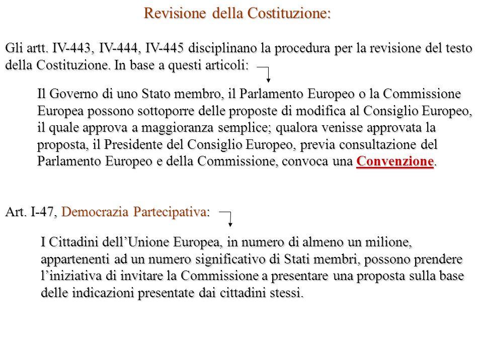 Revisione della Costituzione: Gli artt. IV-443, IV-444, IV-445 disciplinano la procedura per la revisione del testo della Costituzione. In base a ques