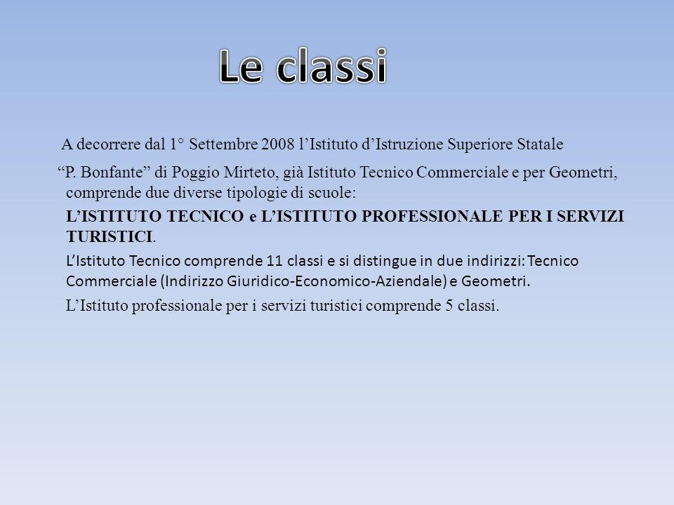 A decorrere dal 1° Settembre 2008 lIstituto dIstruzione Superiore Statale P. Bonfante di Poggio Mirteto, già Istituto Tecnico Commerciale e per Geomet
