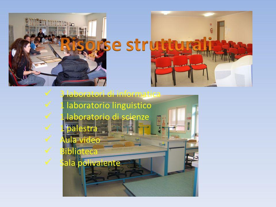 3 laboratori di informatica 1 laboratorio linguistico 1 laboratorio di scienze 1 palestra Aula video Biblioteca Sala polivalente