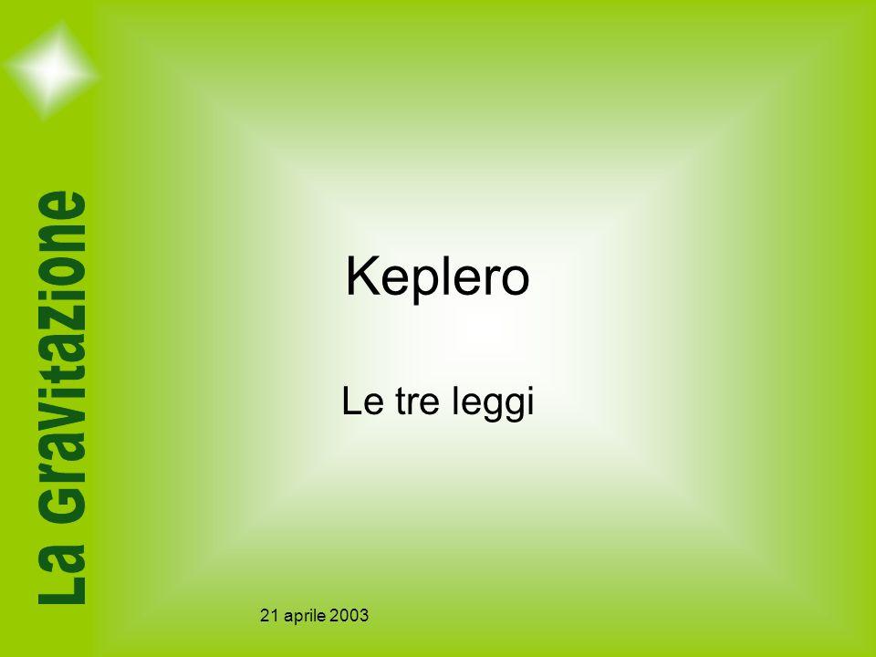 21 aprile 2003 Keplero Le tre leggi