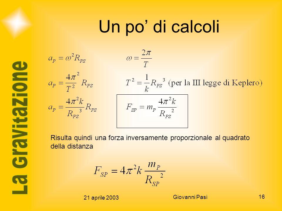 21 aprile 2003 Giovanni Pasi 16 Un po di calcoli Risulta quindi una forza inversamente proporzionale al quadrato della distanza