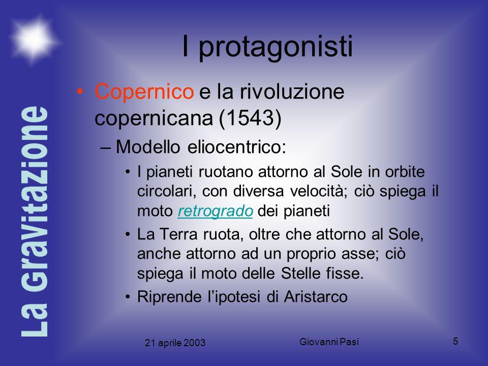 21 aprile 2003 Giovanni Pasi 5 I protagonisti Copernico e la rivoluzione copernicana (1543) –Modello eliocentrico: I pianeti ruotano attorno al Sole i
