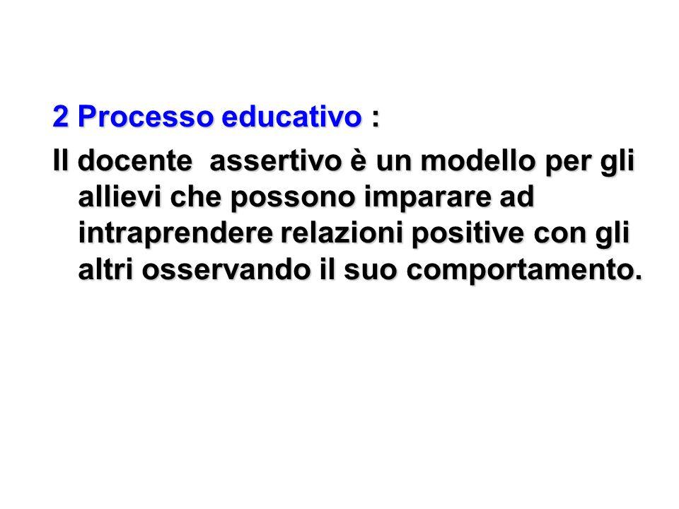 2 Processo educativo : Il docente assertivo è un modello per gli allievi che possono imparare ad intraprendere relazioni positive con gli altri osserv