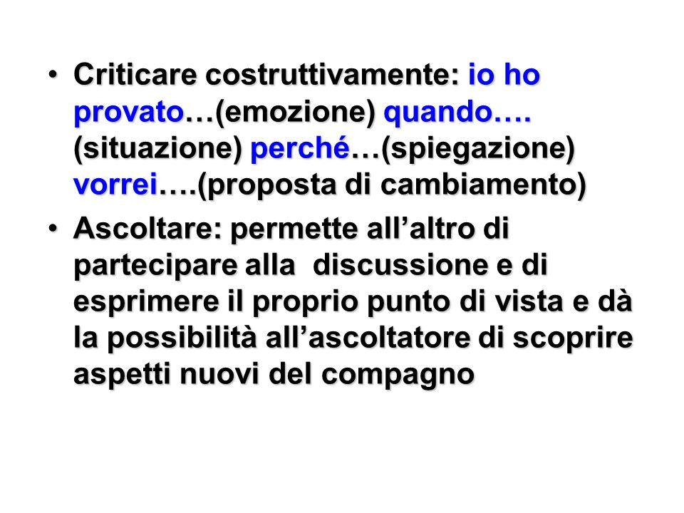 Criticare costruttivamente: io ho provato…(emozione) quando…. (situazione) perché…(spiegazione) vorrei….(proposta di cambiamento)Criticare costruttiva
