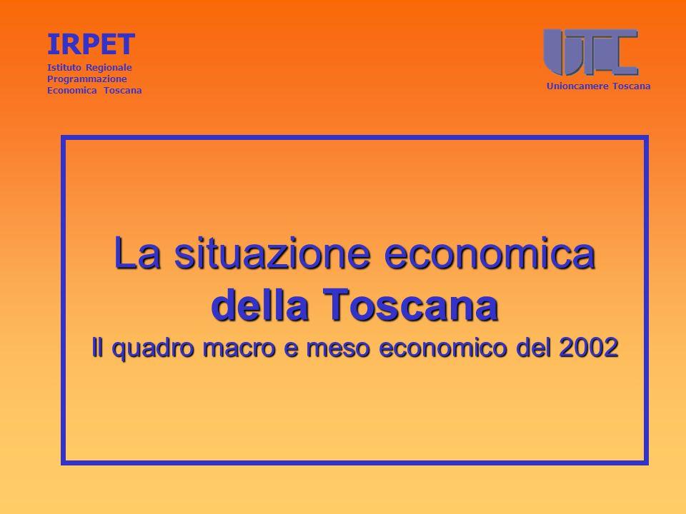 Tasso di crescita 2002/2001: macroregioni IRPET Istituto Regionale Programmazione Economica ToscanaUNIONCAMERE TOSCANA