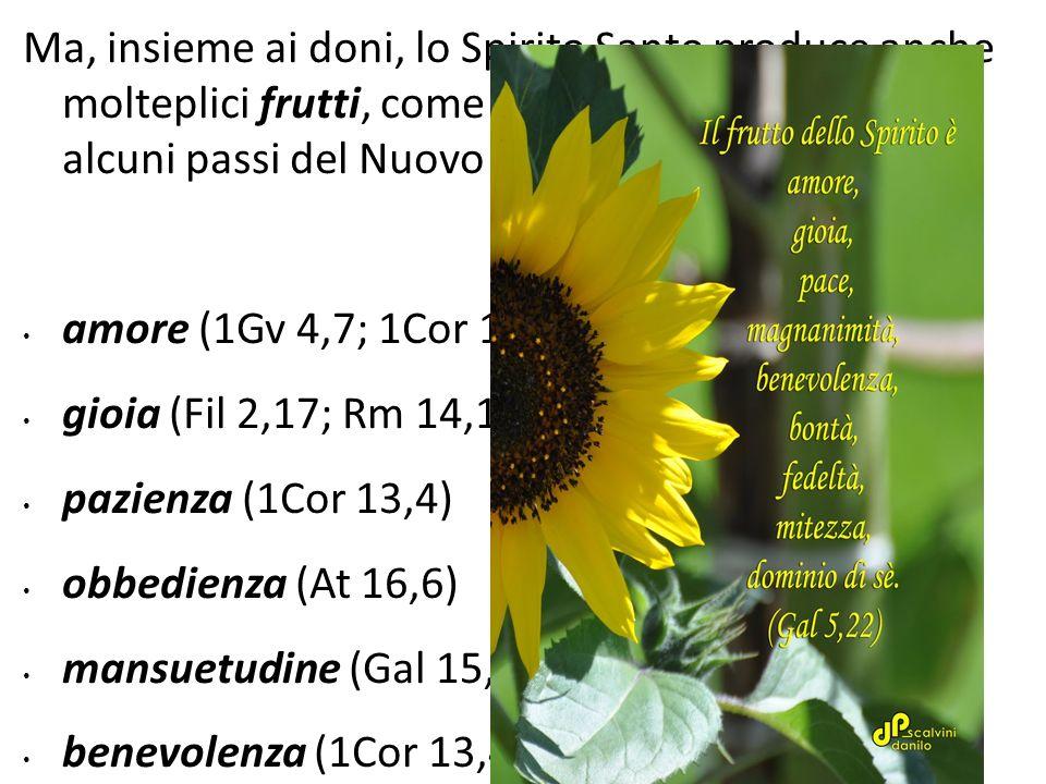 Ma, insieme ai doni, lo Spirito Santo produce anche molteplici frutti, come è possibile ricavare da alcuni passi del Nuovo Testamento: amore (1Gv 4,7;