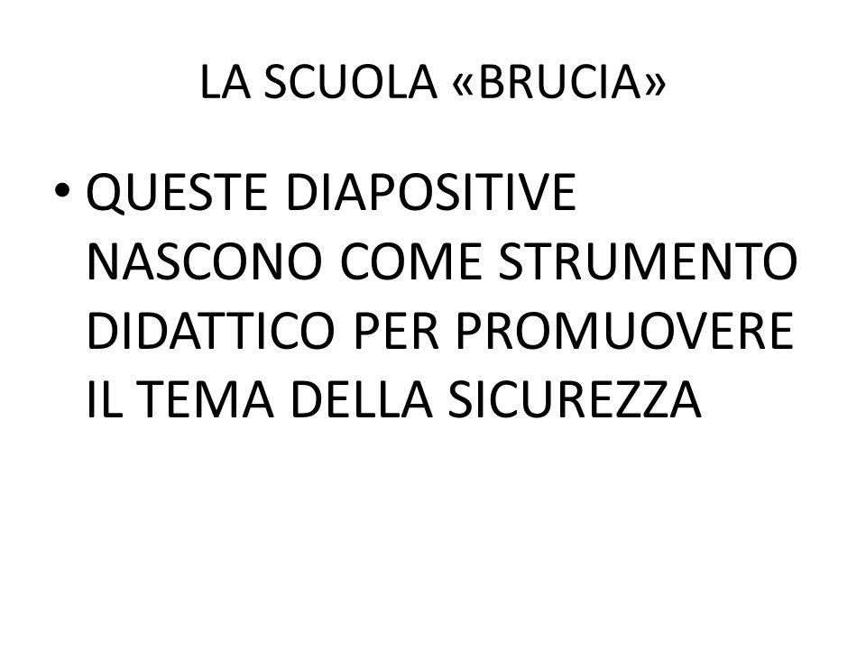 LA SCUOLA «BRUCIA» QUESTE DIAPOSITIVE NASCONO COME STRUMENTO DIDATTICO PER PROMUOVERE IL TEMA DELLA SICUREZZA