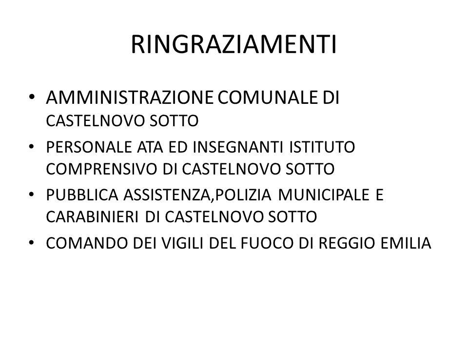 RINGRAZIAMENTI AMMINISTRAZIONE COMUNALE DI CASTELNOVO SOTTO PERSONALE ATA ED INSEGNANTI ISTITUTO COMPRENSIVO DI CASTELNOVO SOTTO PUBBLICA ASSISTENZA,P
