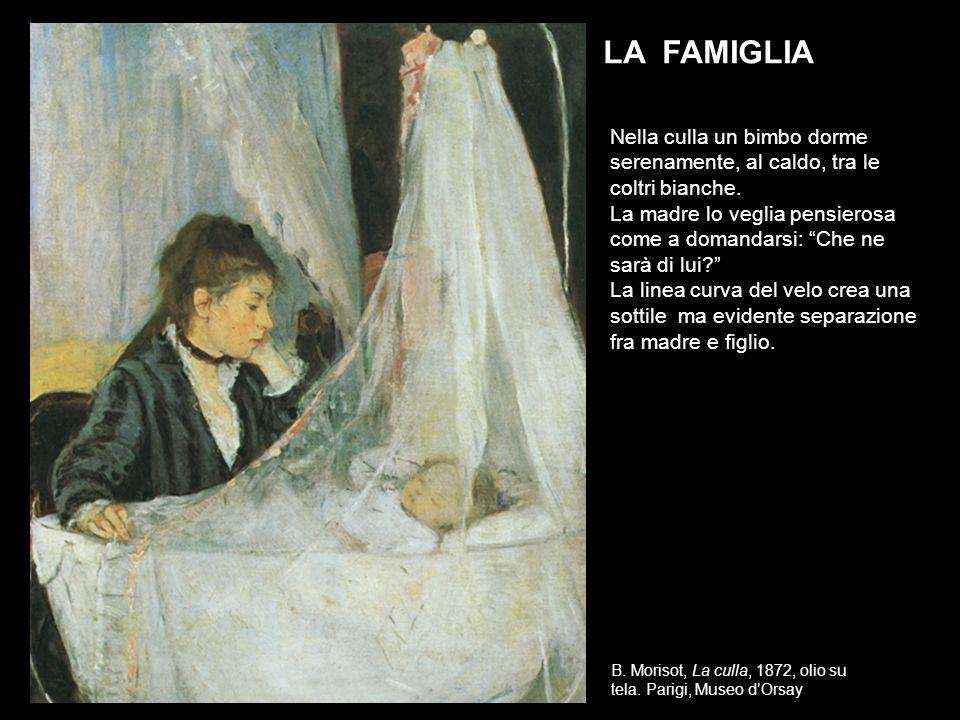 B. Morisot, La culla, 1872, olio su tela. Parigi, Museo dOrsay LA FAMIGLIA Nella culla un bimbo dorme serenamente, al caldo, tra le coltri bianche. La