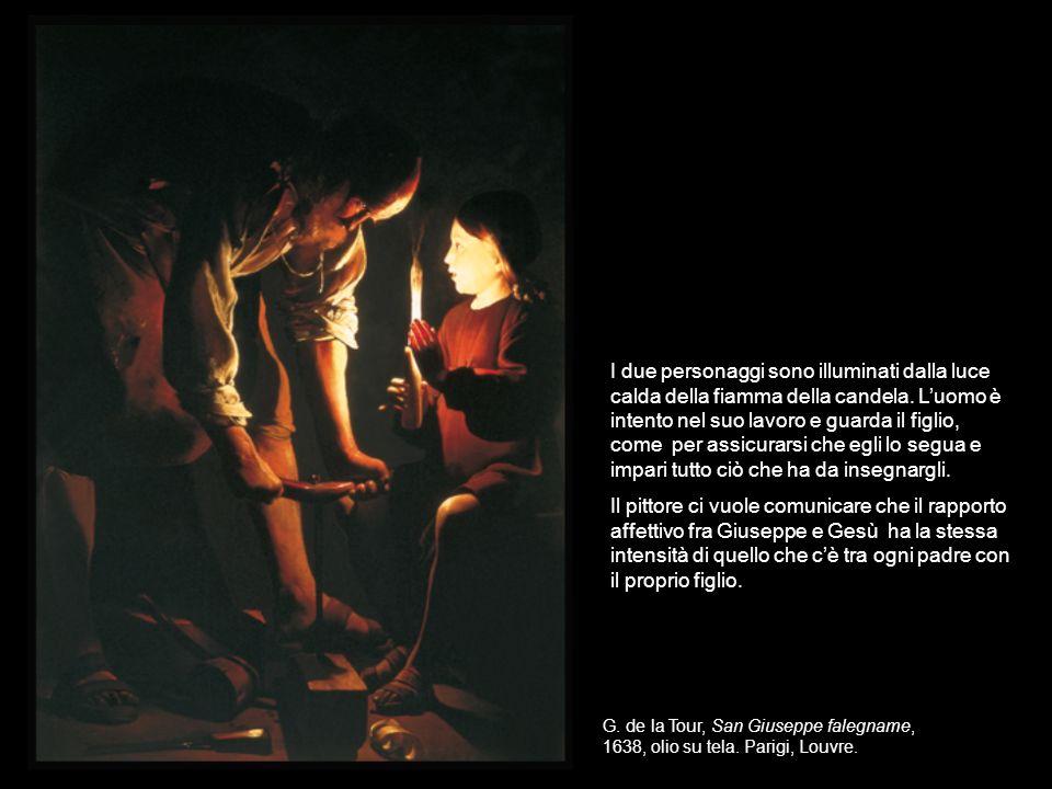 G. de la Tour, San Giuseppe falegname, 1638, olio su tela. Parigi, Louvre. I due personaggi sono illuminati dalla luce calda della fiamma della candel