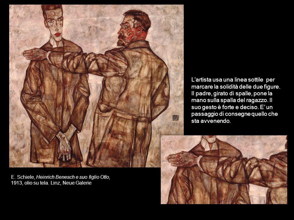 E. Schiele, Heinrich Benesch e suo figlio Otto, 1913, olio su tela. Linz, Neue Galerie Lartista usa una linea sottile per marcare la solidità delle du