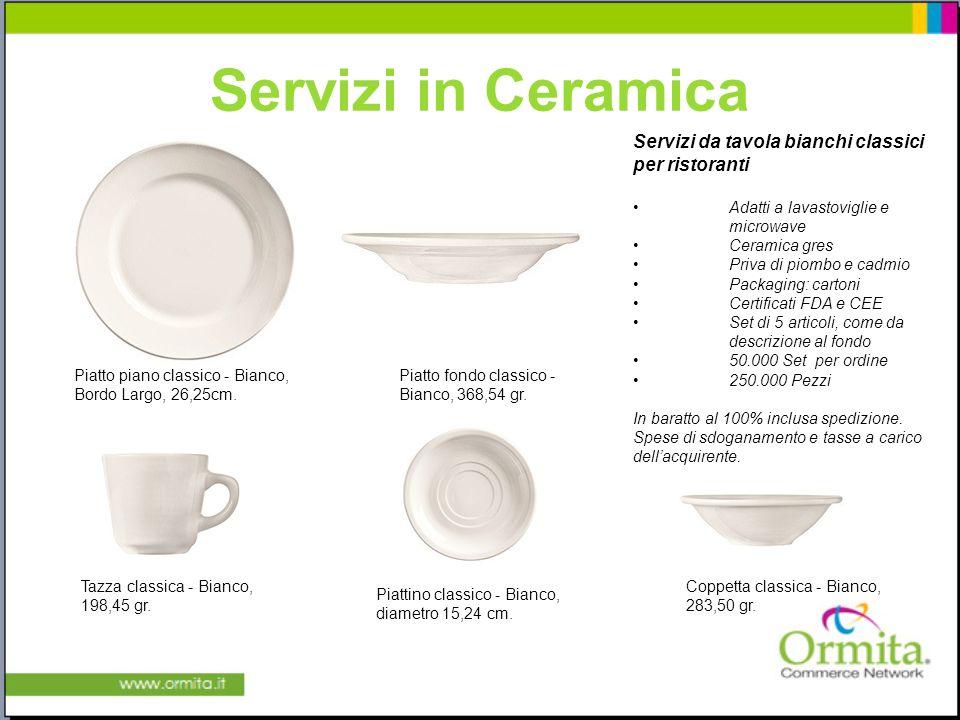 Servizi in Ceramica Piatto piano classico - Bianco, Bordo Largo, 26,25cm. Piatto fondo classico - Bianco, 368,54 gr. Coppetta classica - Bianco, 283,5