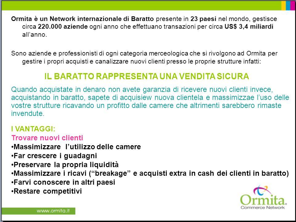Ormita è un Network internazionale di Baratto presente in 23 paesi nel mondo, gestisce circa 220.000 aziende ogni anno che effettuano transazioni per