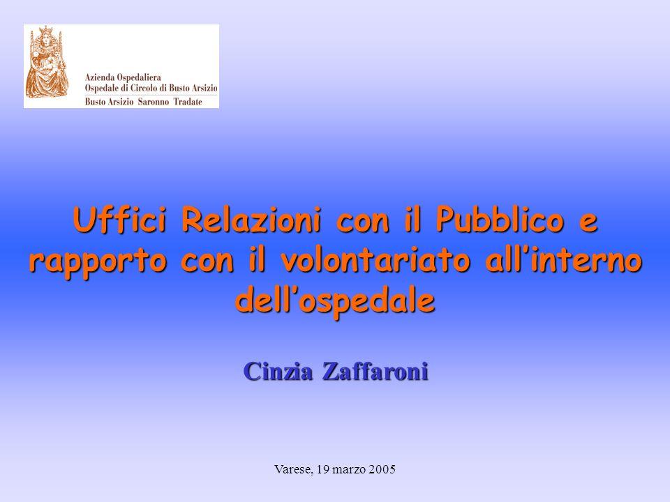 Varese, 19 marzo 2005 Uffici Relazioni con il Pubblico e rapporto con il volontariato allinterno dellospedale Cinzia Zaffaroni