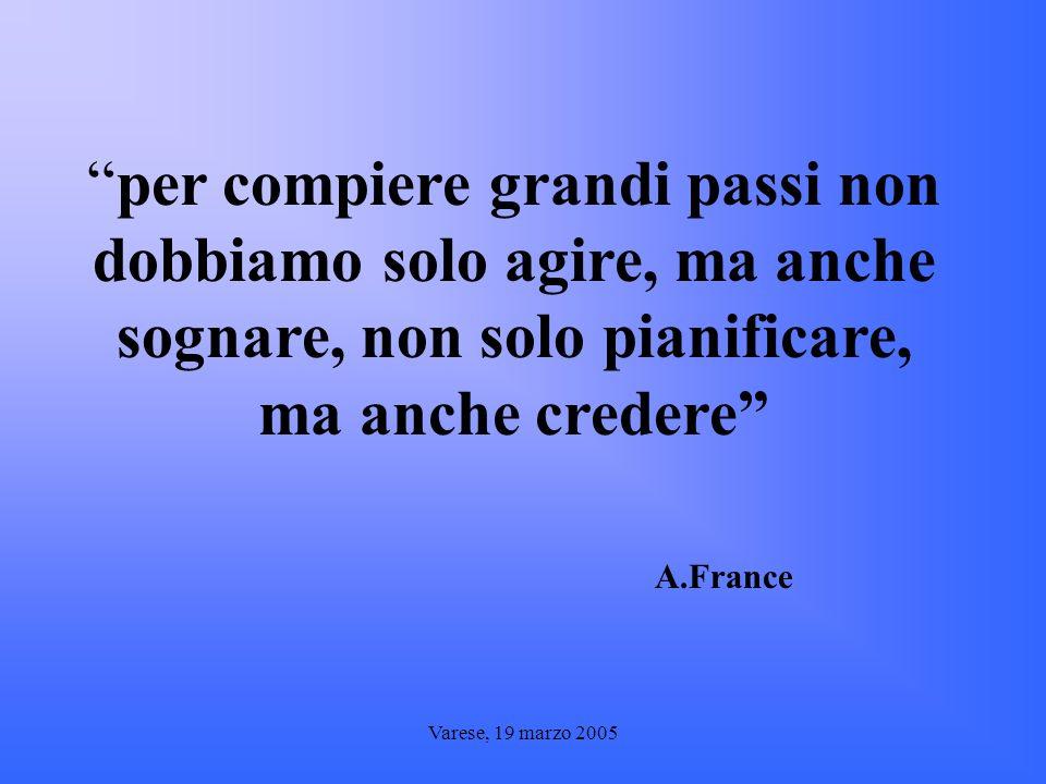 per compiere grandi passi non dobbiamo solo agire, ma anche sognare, non solo pianificare, ma anche credere A.France